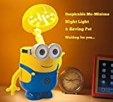 Generic Despicable Me Money Piggy Bank and LED Rechargeable Desk Lamp Dimmable Table Light Night light and Cute Cartoon Money Holder Piggy Bank,Hands Rotatable?-