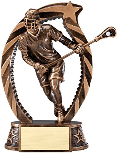 Etch Workz Resin Design Customize Award - Running Star Series Lacrosse Resin Trophy - Engraved Gold Plated & Personalized Free (7-1/2