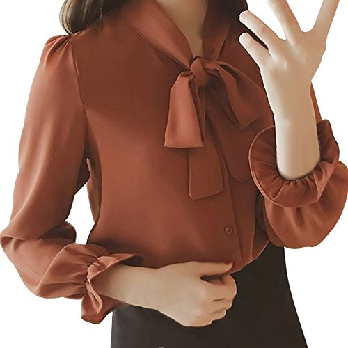 (Pervobs Women Lace-up Shirts Chiffon Solid Long Sleeve Bow Tie Elegant Workout Shirt Top Blouse Blusa(L, Z04-Red))