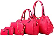 Tibes Fashion Luxury PU Leather Handbag Tote Shoulder Bag Purse Card Holder 5pcs Set Purse for Women/Girls/Lad