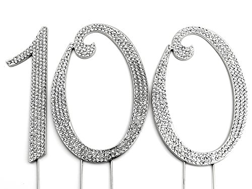 Sparkly Rhinestones Number 100 Cake Topper, Birthday Wedding Anniversary Silver Number 100 -