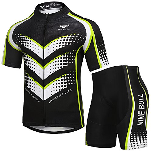 Men's Cycling Jersey Set - Reflective Quick-Dry Biking Shirt and 3D Padded Cycling Bike Shorts Air Strip L/s Shirt