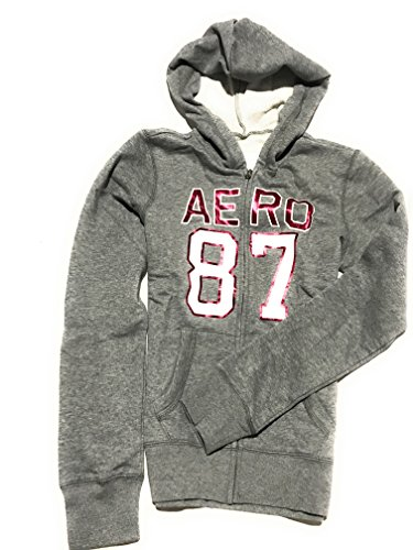 Aeropostale Women's Classic Zip-up Graphic Mountain Hoodie With Logo on The Arm Style 3948 (Grey, Small) by Aeropostale