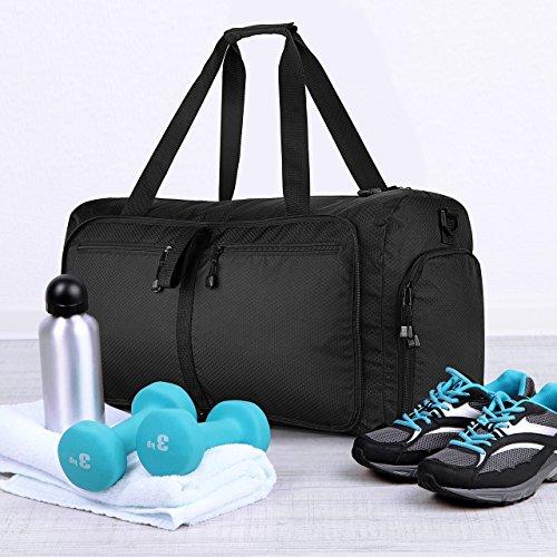 Unisex Reisetasche, OMorc 50 Liter Faltbare Trage Tasche, Sport und Gym Sporttasche, wasserdicht Travel Duffel Tasche mit abnehmbaren Schultergurt für Frauen und Männer Schwarz