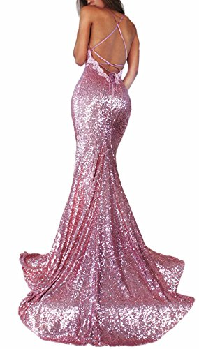 Neck Sequin V Straps Gown Womens Evening BPM07 Dresse Prom Rose Party Gold Slit Long f45ywE