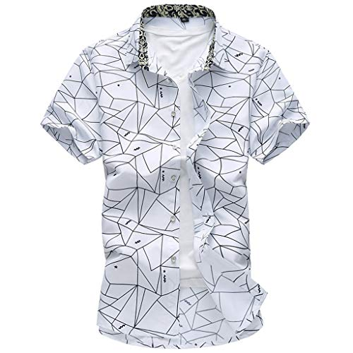 (Mens Printed Short Sleeve Button Up Shirts Loose Casual Summer Beach T Shirt Tops)