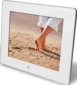 """Rollei Pictureline 4080 - Marco de fotos digital (8"""" TFT-LCD a color (20,32 cm), formato de pantalla 4:3, diseño Slim de sólo 23,5 mm,  con mando a distancia, con transición de 10 diapositivas, calendario y reloj, 800 X 600 píxeles, color blanco)"""
