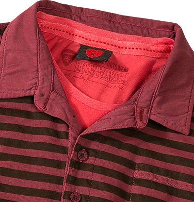 Strellson Sportswear Herren Polo-Shirt J-Pepe Baumwolle Modisch Gestreift, Größe: S, Farbe: Rot