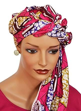 African Head Wrap Tribal Scarf Gele. Stylish Headgear Made Of Ankara Pink Fabric