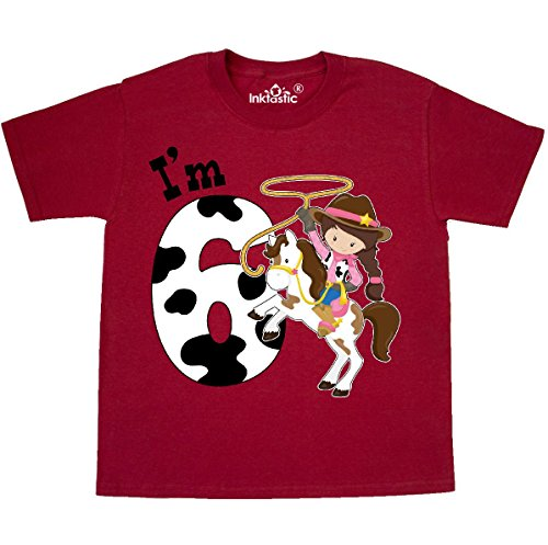 Inktastic - Im Six-cowgirl riding horse Youth T-Shirt Youth Small (6-8) - Girls Cowgirl T-shirt