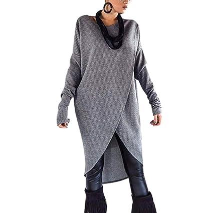 Zehui Blusa Casual para Mujer Cuello Redondo Manga Larga, Súeter Largo de Moda Color sólido