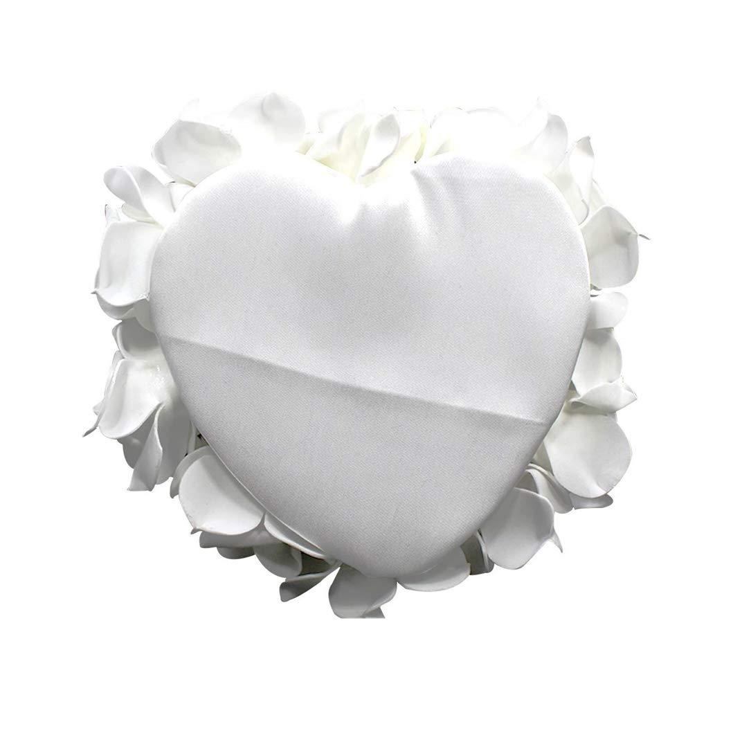 Accessoires de Mariage 24 x 25 cm Wakects Coussin de Mariage Romantique en Forme de c/œur avec Roses pour alliances en Satin