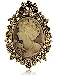 Vintage Crystal Cameo Lady Maiden Flower Brooch(silver Plated,gold Plated)