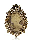 Danbihuabi Vintage Crystal Cameo Lady Maiden Flower Brooch(silver Plated,gold Plated) (gold plated style)