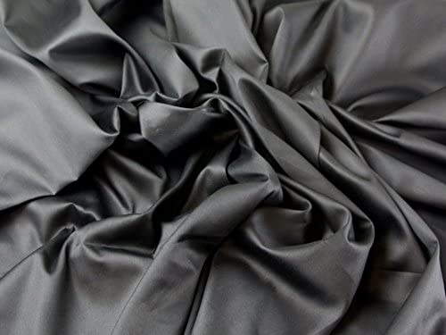 Tela de vestido de satén de algodón lisa Negro – Por metro: Amazon ...