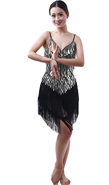 e5d43c117b66 Astage Women Latin Dance Lady Sexy Fringed Sequins Tassel Pole Clubwear  One-piece Dress Silver