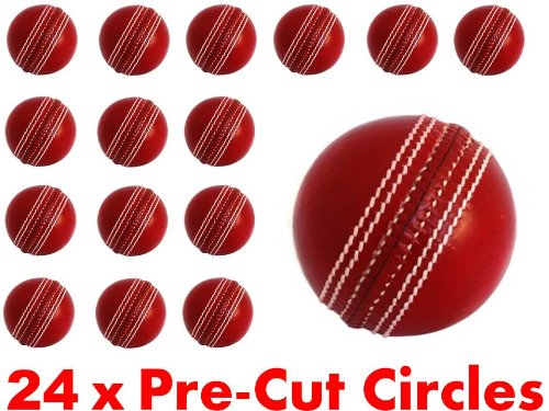 24 x 38mm Pre Cut Circle Cricket Balls Ball Fairy Muffin Cup Cake Toppers Decoration Edible Rice Wafer Paper Harold's Bakeware