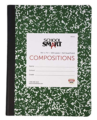School Smart Stitched Cover Composition Book, Quad Ruled, 9-3/4 x 7-1/2 Inches, 200 Pages