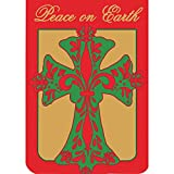 Cheap Peace on Earth Fleur de Lis Cross 18 x 13 Round Bottom Double Applique Small Garden Flag