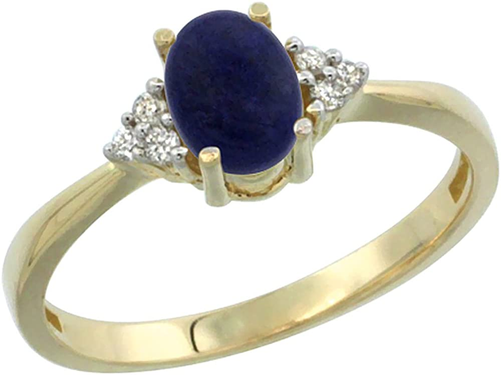 sizes 5-10 10K Yellow Gold Diamond Natural Lapis Engagement Ring Oval 7x5mm