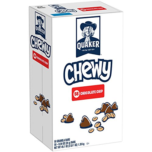 Quaker Chewy Granola Bars, Chocolate Chip, 0.84 Ounce Bars, 58 Count