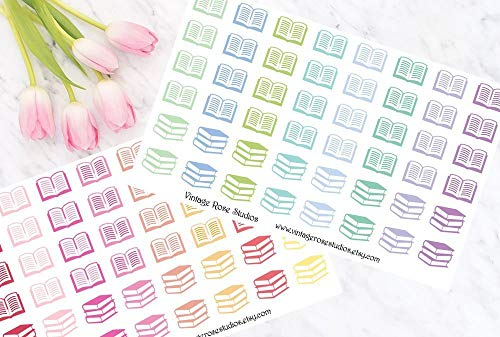(Book/Reading Functional Planner Stickers in Cool & Warm Color Palette for Erin Condren LifePlanner, Filofax, Kikki K, Travelers Notebook)