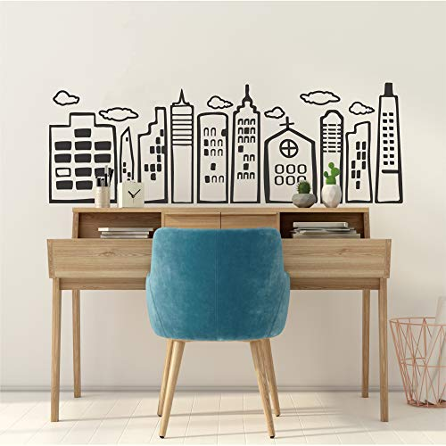 Doodled City Skyline Wall Decal-Cityscape Vinyl Stickers for Bedroom Living Room Kids Room Nursery Home Decor-Black