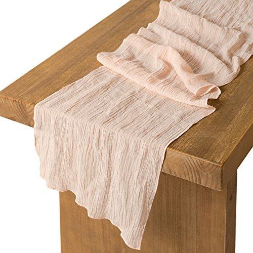 Lings moment 17 Wide Bohemian Crinkled Ramie Cotton Blend Table Runner Blush Sheer Gauze Tablecloth Cheesecloth Table Runner for Woodland Greenery Wedding Party Bridal Shower Decor