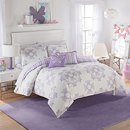 Waverly Kids 16434BEDDTWNPUR Ipanema 86-inch by 68-Inch Reversible Twin Bedding Collection, Purple (Light Purple Bedding Twin)