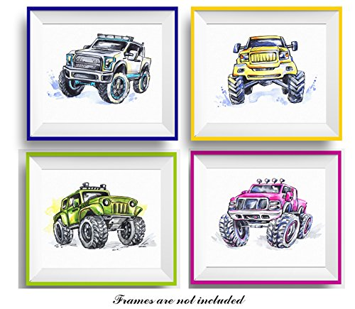 7Dots Art. Set of 4 Monster trucks. Watercolor art print 8