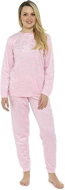 TALLA 36/38 EU. Pijama Mujer Invierno Suave Cómodo con Plumas Prosecco Estrellas Vario Estilos Pijamas Invernal Regalo para Ella
