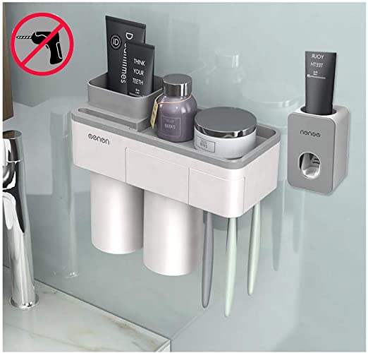 Bathroom Wall Mount Automatic Toothpaste Dispenser Squeezers Toothbrush Holder