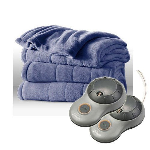 Sunbeam Heated Plush Electric Blanket, Twin Size, Lagoon Blue (Sunbeam Plush Blanket compare prices)