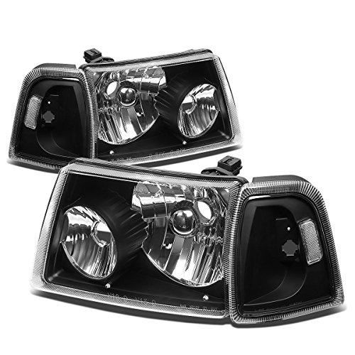 For Ford Ranger 4Pcs Black Housing Clear Corner Headlight+Corner Lights Kit Replacement -