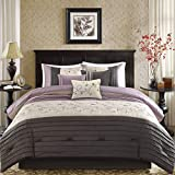 Plum and Grey Comforter Sets 7 Piece Plum Purple Charcoal Grey Floral Embroidery Comforter Queen Set, Purple Adult Bedding Master Bedroom Modern Stylish Pintuck Leaf Swirl Pattern Elegant Classic Themed, Polyester