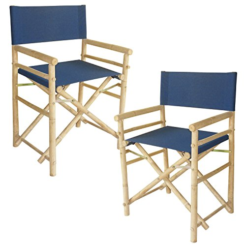 Zew Hand Crafted Foldable Bamboo Director's Chair with Treated Comfortable Canvas, Set of 2 Folding Chairs, Blue by Zew