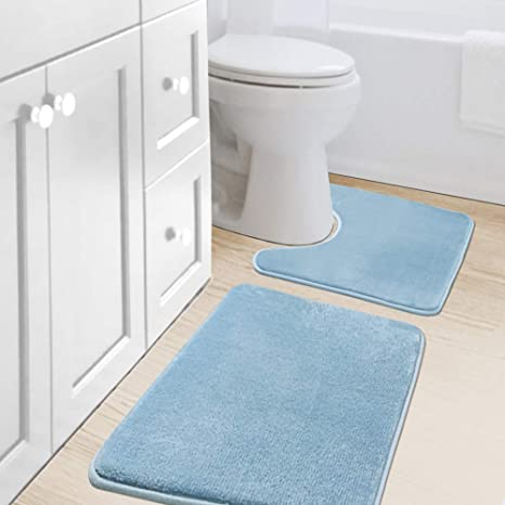 Bath Mat Set Non Slip Rubber Pedestal Mat Toilet Rug Memory Foam Bathroom Pebble