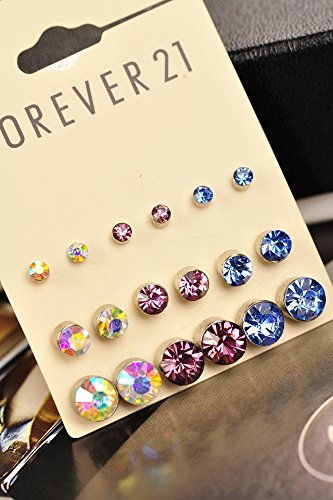 (9 Pair) Bright Austrian Crystal Earrings earings Dangler Eardrop Earring (Bright Austrian Crystals)