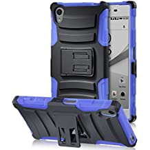 Sony Xperia Z5 Case, Fosmon [STURDY] Rugged Heavy Duty Hybrid Dual Layer Shell Case and Holster with Kickstand for Sony Xperia Z5 (Dark Blue)