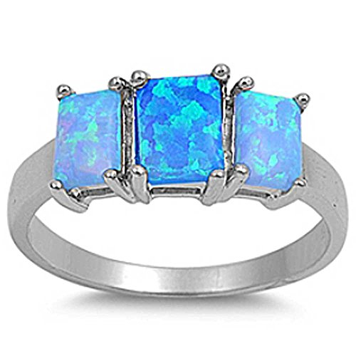 Sterling Silver Square RAINBOW BLUE LAB OPAL Ring