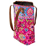 JOE COOL Shopper Bag Neon Screen Print with Leather Strap (Pink) Made with Cotton by