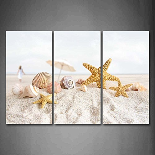 First Wall Art® - Starfish Little Umbrella And Shells On Beach Wall Art Painting The Picture Print On Canvas Art Pictures For Home Decor Decoration Gift