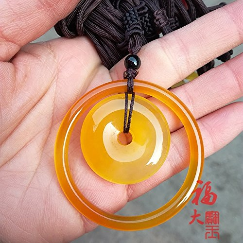 usongs Natural agate picture-ring sweater chain necklace pendant ice kind picture yellow chalcedony safe fastening collar necklace pendant pendant