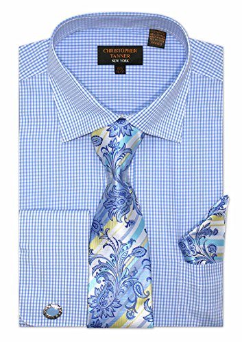 Christopher Tanner Men's Regular Fit Checks Pattern Dress Shirts with Tie/Hanky Cufflinks Combo Color Blue Size 17.5