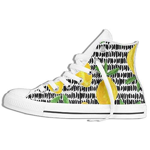 Classiche Sneakers Alte Scarpe Di Tela Antiscivolo Limone Casual Da Passeggio Per Uomo Donna Bianco