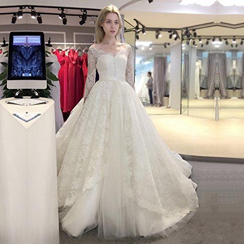 the V Shoulder chain section Dress Word Dress Dress Lace Deep Wedding Wedding Stop Wedding Neck Long Cxy qfT6Bw