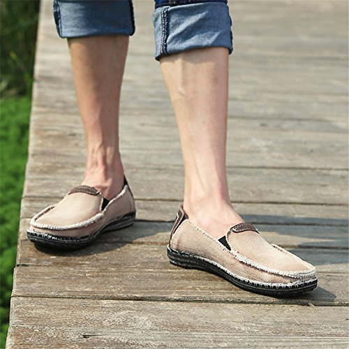 SANBANG Men's Slip-On Loafers Flat Canvas Boat Shoes for Driving Walking Weeding Outdoor