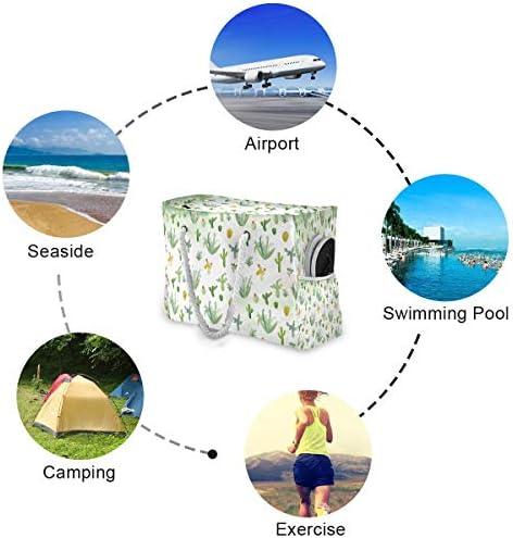 ビーチバッグ ビーチトートバッグ 緑のサボテン柄 プールバッグ ショッピング 軽量 旅行 アウトドア 大容量 トイレタリー 手提げバッグ ピクニック 水泳バッグ 海水浴 温泉 ポケット付き リゾート