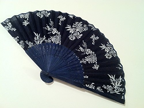 Bamboo Hand Folding Fan with Blue Background and Cherry Blossom and Chrysanthemum Flower Design - Fast Shipping From Il ()