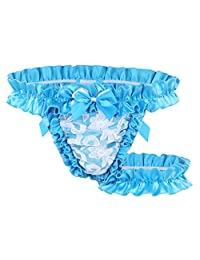 Zicth Ruffle Frilly Satin Bow G-String Panties Sexy Sissy Maid Women's Thongs